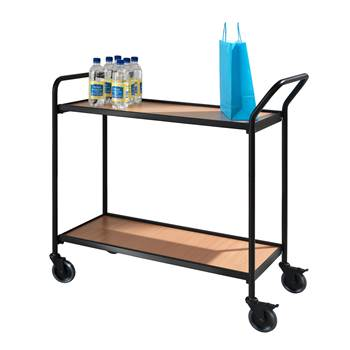 Dwupółkowy wózek biurowy w kolorze buk/orzech