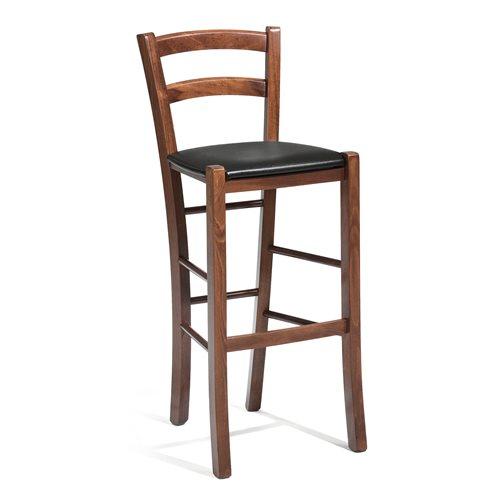 Krzesło barowe w kolorze orzech tapicerowane skajem