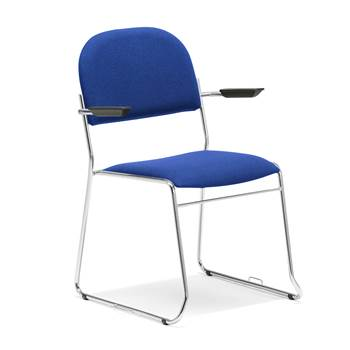 Linkable conference chair with armrests, blue fabric, chrome
