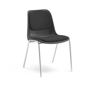 Chair with coupling fittings, black fabric, chrome