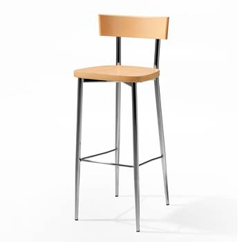 Café bar chair, beech, chrome