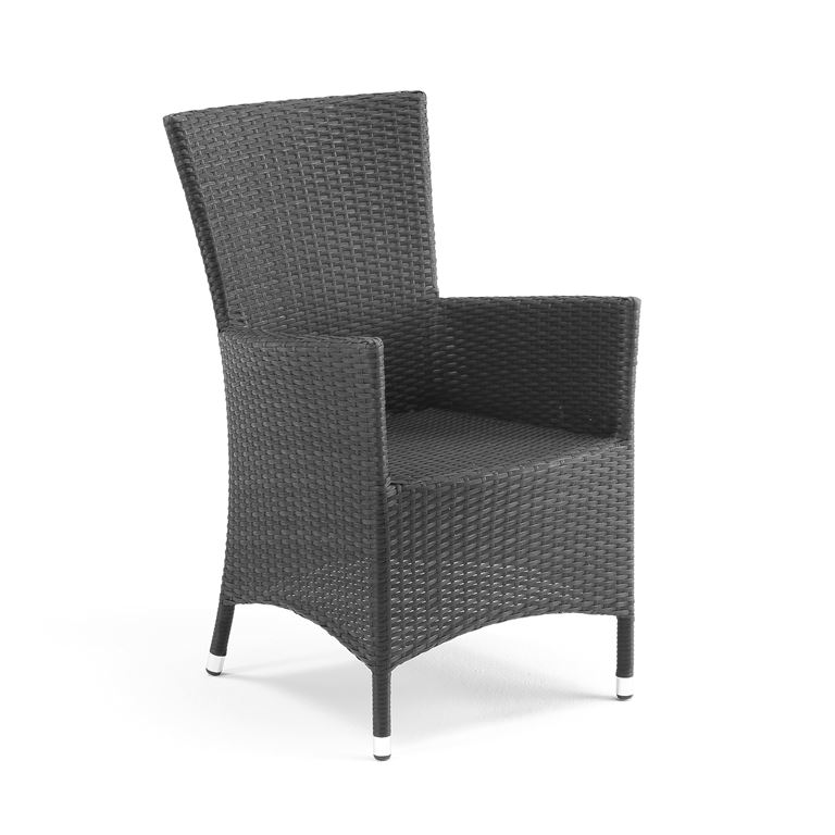 Outdoor armchair: black rattan