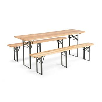 Table with 2 benches: green/natural pine