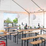 Ulkopöytä ja penkit, kokoontaitettavat, 2000x600 mm, mänty, vihreä