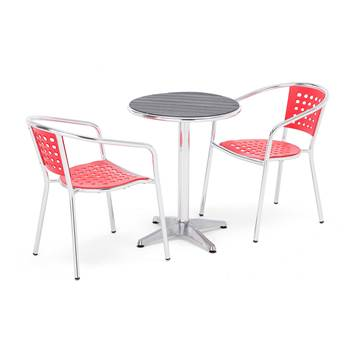Package deal, table + 2 red chairs