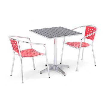 Package deal, square table + 2 red chairs