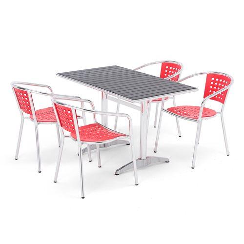 Zestaw mebli tarasowych 4 krzesła + prostokątny stół
