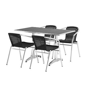 Rectangular cafe table + 4 chairs