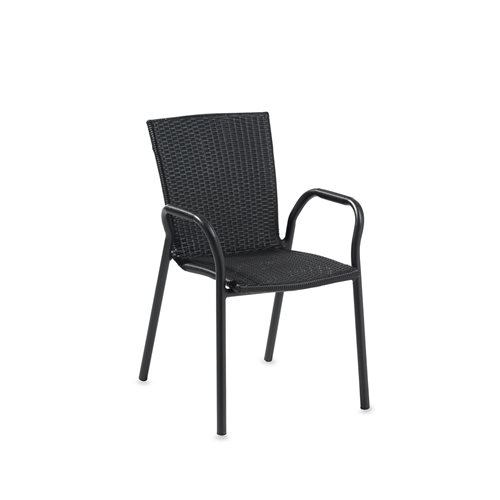 Black rattan armchair