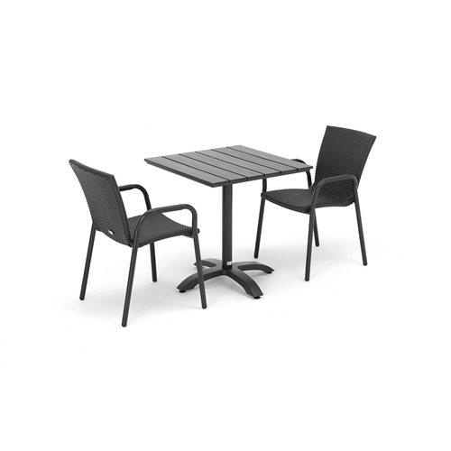 Zestaw mebli tarasowych 2 krzesła rattanowe + kwadratowy stół