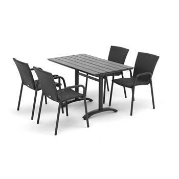 Outdoor furniture set, table and 4 chairs