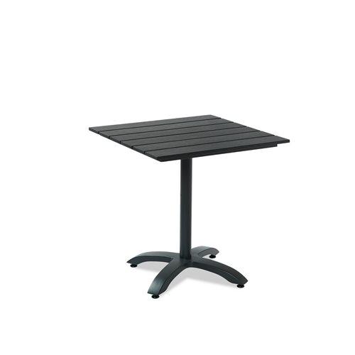 Cafébord, Träimitation, alu.stativ, fyrkantigt