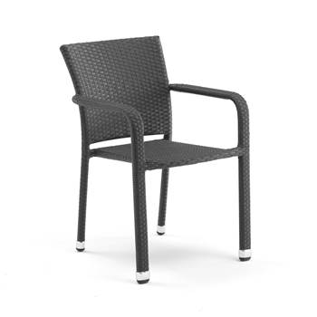 Stackable café chair with armrests, black rattan