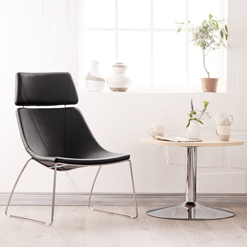 #en Lounge chair with neck rest, metal frame and black artificial leather