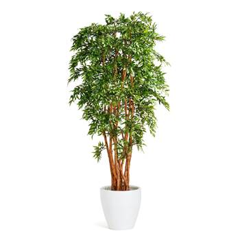 Ruscus artificial plant with pot, white