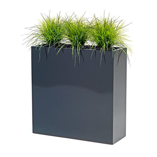 3 synthetic grass plants with box
