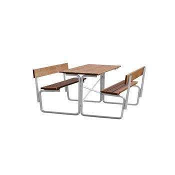 Kraftig utemöbel med rygg, fasta bänkar, 1500x1680 mm, brun, galvad
