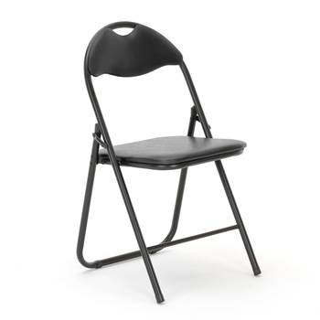 Folding chair, black frame, black vinyl