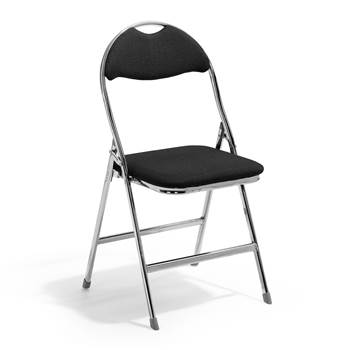 Kristoffer folding chair, black fabric, chrome