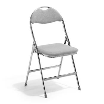 Kristoffer folding chair, grey fabric, chrome