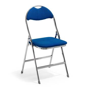 Kristoffer folding chair, blue fabric, chrome