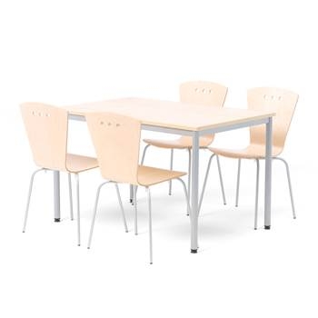 Small canteen group, 1 L 1200 mm table + 4  chairs, birch, alu grey