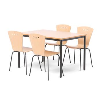 Small canteen group, 1 L 1200 mm table + 4  chairs, beech, black