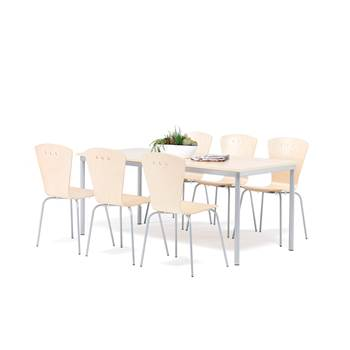 Big canteen group, 1 table + 6 chairs, birch