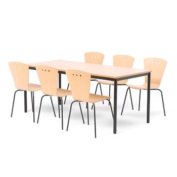 Big canteen group, 1 table + 6 chairs, beech
