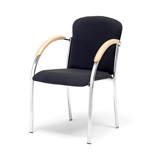 Czarne krzesło konferencyjne z podłokietnikami.