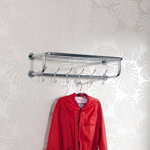 Coat rack with shelf: 6 hooks