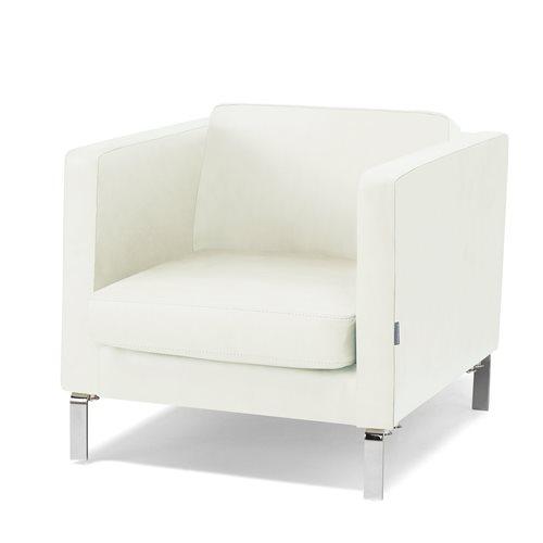 Fotel z serii KVADRAT rtapicerowany skórą w kolorze białym