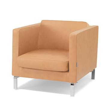 Waiting room armchair, leather, natural