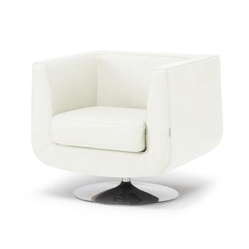 Square tub armchair, white leather