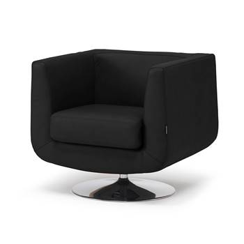 Square tub armchair, black leather