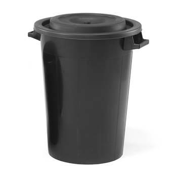 Plasttønne med lokk, 70L, svart