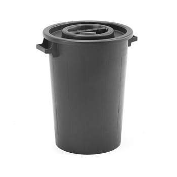 Plasttunna med lock,  75 liter, svart