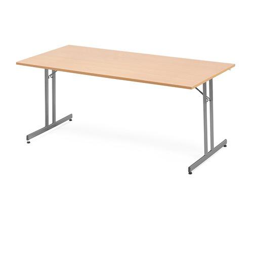Stół konferencyjny / stołówkowy, składany, 1800x800 mm, laminat, buk, alumi