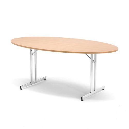 Stół konferencyjny, Blat Buk laminat, Stelaż: chrom