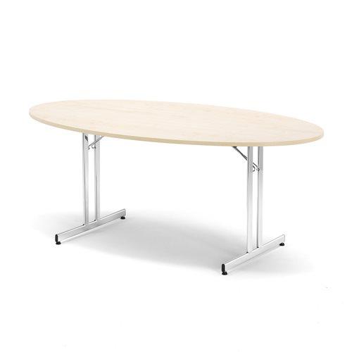 Stół konferencyjny, Blat: Brzoza laminat, Stelaż: chrom