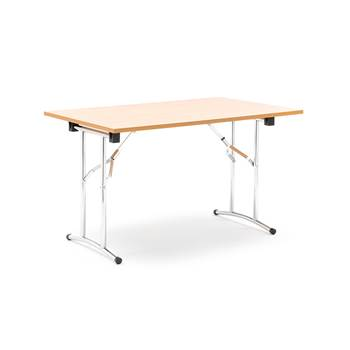Collapsible conference table, 1200x800x725 mm, beech laminate, chrome