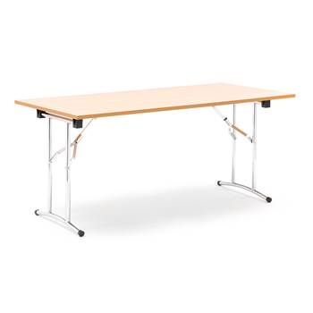 Collapsible conference table, 1600x800x725 mm, beech laminate, chrome