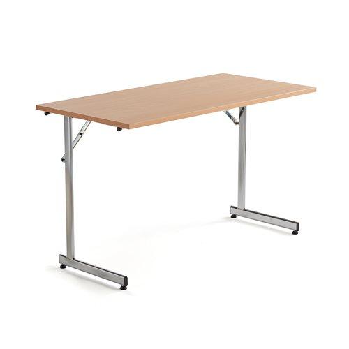 Neuvottelupöytä, taitettava, 1200x600 mm, pyökkilaminaatti, kromi