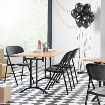 Stół konferencyjny bukowy - stelaż w kolorze czarnym