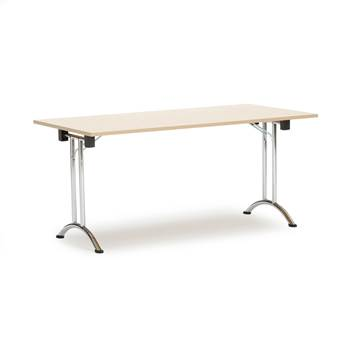 Folding conference tables, 1600x800x735 mm, birch, chrome