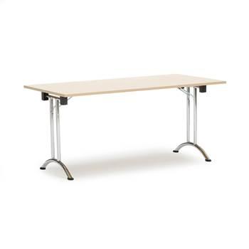 Sammenleggbart bord, 1600x800 mm, bjørk/krom