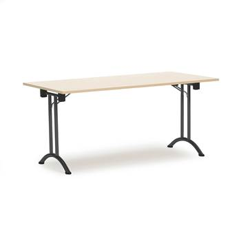 Sammenleggbart bord, 1600x800 mm, bjørk/alugrå