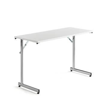 Konferensbord, fällbart, 1200x500 mm, vit laminat, krom