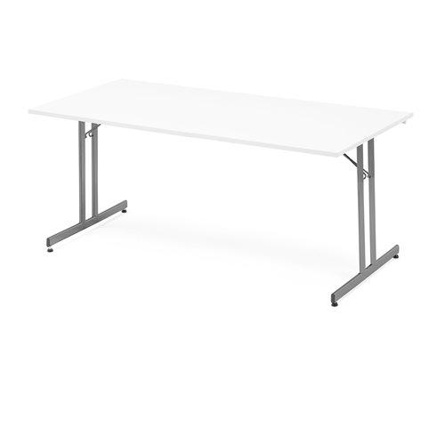 Stół konferencyjny / stołówkowy, składany, 1800x800 mm, biały, aluminium