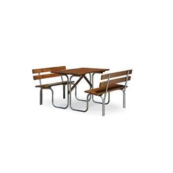 Pine picnic set, 1500x1800x780 mm, stained brown, zinc